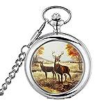 Classico orologio da taschino con catena da 36,8cm, design con cervo, argento, da uomo
