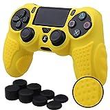 MXRC Silikon Grip Cover Haut Fall Anti-Rutsch für PS4/Slim/Pro Controller X 1(Gelb) + FPS Pro Extra Höhe Daumenauflage X 8