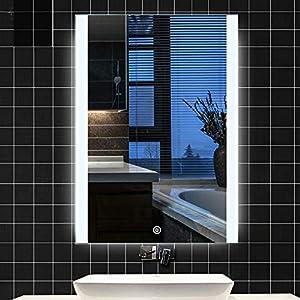 Turefans Erstaunliche Badezimmerbeleuchtung Spiegel, Spiegel Touch-Schalter, Umweltschutz und Energieeinsparung, weiße LED,neues Angebot (50 x 70 cm)