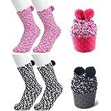 Geschenk-Verpackung Kuschelsocken Weiche Bequeme Warme Flauschige Haussocken für Kinder Frau Damen (pink schwarz (2 Paar))