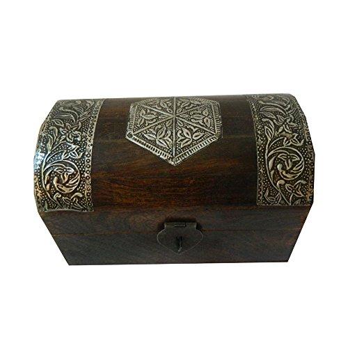 indischerbasar.de Coffret pirate 22x15x14cm en bois de manguier brun foncé boîte trésor rangement...
