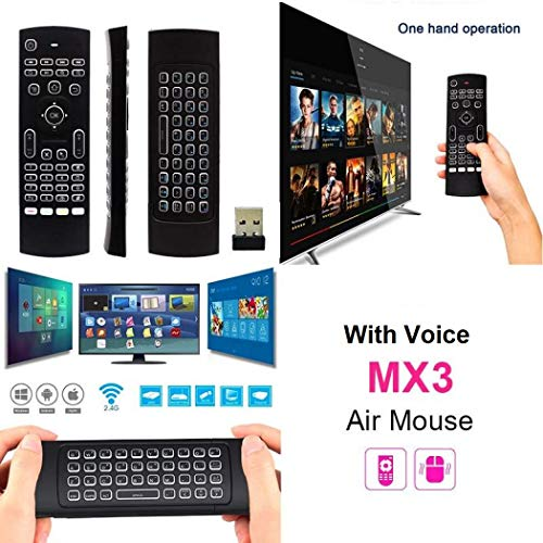 Microware Air Remote Mouse MX3, 2.4G Kodi Remote Control, Mini Wireless Keyboard & infrared Remote Control Learning, Best For Android Smart Tv Box HTPC IPTV PC Pad XBOX Raspberry Pi 3