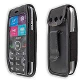 caseroxx – Housse de téléphone Portable à Clip pour Alcatel 2008G en Cuir veritable – Housse de Protection à Porter à la Ceinture (Coloris Noir avec fenêtre Transparente antisalissure)