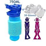 Tragbare Notfall Urinal & 50 Einmalhandschuhe, Wiederverwendbar Shrinkable Persönlichen Mobile WC-Töpfchen Pee Flasche für Kinder Erwachsene Camping Auto Reise 750 ml (Blau)