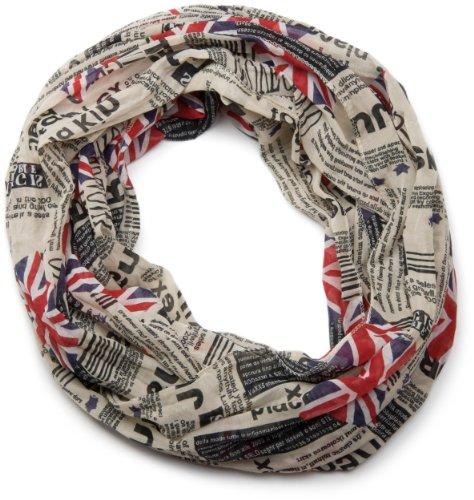 styleBREAKER Union Jack Loop Schlauchschal im Zeitungsdruck, Newspaper Stil, leicht und seidig, Unisex 01016078, Farbe:Beige