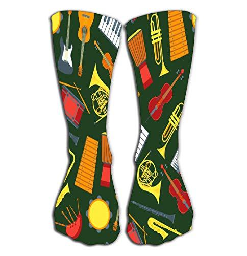 Xunulyn Hohe Socken Outdoor Sports Men Women High Socks Stocking Cartoon Musical insrtuments Pattern Green Symbol Orchestra Music Band Violin Guitar Drum Trumpet Tile Length 19.7