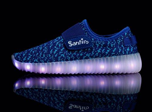 Santiro Kinder USB Aufladen LED leuchtend Turnschuhe Sneaker Blau