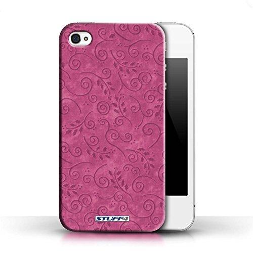 KOBALT® Hülle Case für Apple iPhone 4/4S | Türkis Entwurf | Blatt-Strudel-Muster Kollektion Rosa