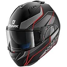 Shark Tiburón cascos de motocicleta, color negro/gris/rojo, talla XL
