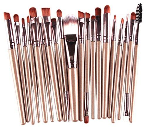 Bigood 20pcs Pinceaux de Maquillage Fond de Teint Poudre Paupières Lèvres