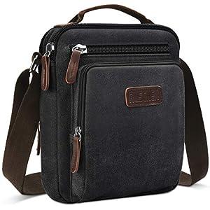 Umhängetasche Schultertasche für Herren, Damen und Jungen, Kuriertasche aus Canvas, Herrentasche für Tablet, Messenger Bag für Tägliches Leben Reise, von Ruschen