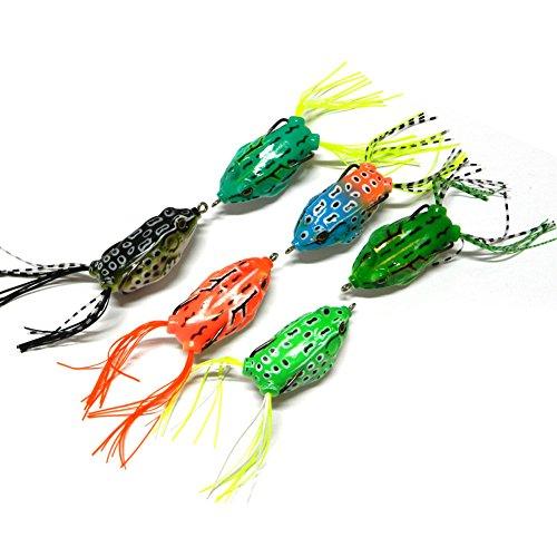 Hrph 6 Stück 5.5cm / 12g Fischen lockt Bass Soft Frosch Crankbaits Top Wasser Fisch Tackle Haken Künstliche Köder