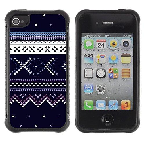 Graphic4You BLUE SWEATER Muster Harte Hülle Case Tasche Schutzhülle für APPLE IPHONE 4 und 4S Design #12