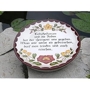 Gartentrittstein mit Tabak- Spruch alter Vintage-Teller ,Einzelstück
