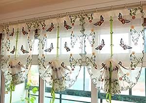Délicate broderie papillon Salon Beige rideau rideau en dentelle