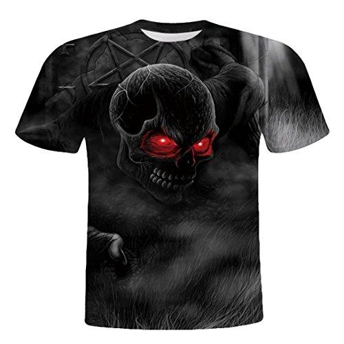 Herren T-Shirt, Beikoard Herren Schädel 3D Printing Tees Shirt Kurzarm T-Shirt Bluse Tops Fußballweltmeisterschaft 2018 Feiertage Oberteile Pullover Fest Schlanke Bluse (Schwarz, XL)