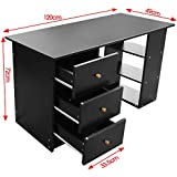 Beyondfashion 120 X 49 X 72cm Black/Brown Office Desk Home Office Computer Furniture 3 Drawer (Black)