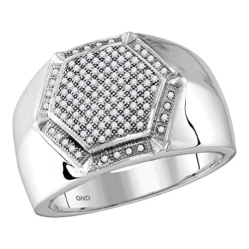 Jewels By Lux Herren Sechseck Rahmen Cluster Ring 8
