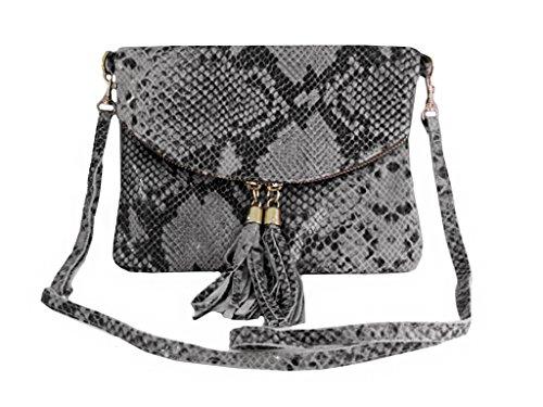 Schwarz Grau Schlange (LAFINITY LT3138 Italy Echt Leder Clutch Tasche Handtasche Abendtasche Schlange Python-Optik Grau Schwarz)