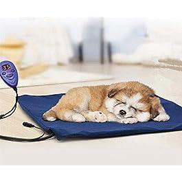 FLYMEI Global Tappetino Riscaldante per Animali, 39,4 x 30,5 cm Tappeto Termico Elettrico Cuccia Letto per Cani Gatti Impermeabile Temperature Regolabili Caldo Comodo, Blu