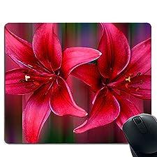 Rote Blumenmausunterlage Rutschfeste Gummimausunterlage rechteckige Mausunterlage Computerlaptop