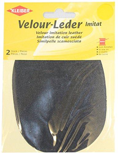 Kleiber 12,5 x 10 cm Ovaler Knie-/Ellbogenflicken aus Velours-Lederimitat zum Annähen, dunkelgrau