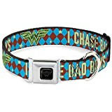 Buckle Down 22,9–38,1cm Wonder Woman Logo/I Chase Bad Boys Diamanten Blau/Braun Hundehalsband