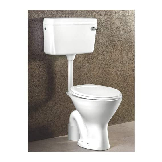 Ceramic Floor Mounted European Water Closet/Western Toilet Commode/EWC S Trap with Normal Seat Cover- White & Premium Normal Flush Flush Tank Combo