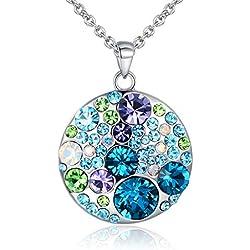 JiangXin Bijoux Collier Pendentif en Forme Ronde en L'Autriche de Cristal Versicolore Bleu Violette Vert Alliage Pour Femme