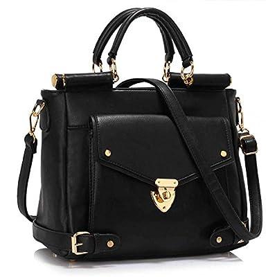 LEESUN LONDON Ladies Faux Leather Shoulder Bag Tote Bag Satchel Bags Handbags For Women