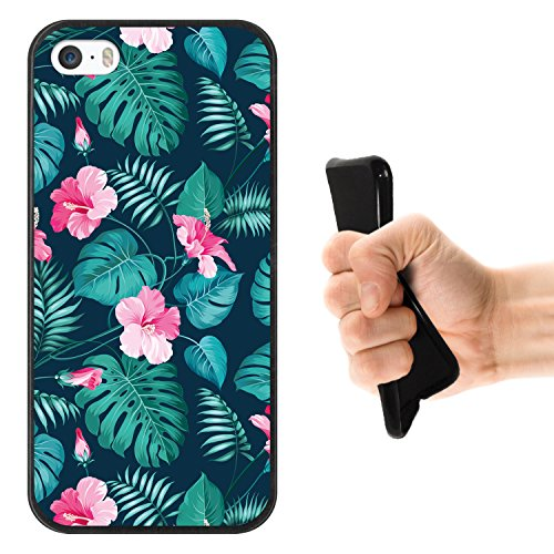 iPhone SE iPhone 5 5S Hülle, WoowCase Handyhülle Silikon für [ iPhone SE iPhone 5 5S ] Mondrian Stil Rechtecke Handytasche Handy Cover Case Schutzhülle Flexible TPU - Transparent Housse Gel iPhone SE iPhone 5 5S Schwarze D0310