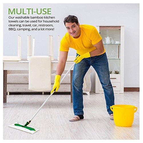 1x Bambus Küchenrolle – waschbare & wiederverwendbare Bambustücher, Haushaltstücher & Putzlappen zum z.B. Staub wischen – ersetzen Papiertücher - 2