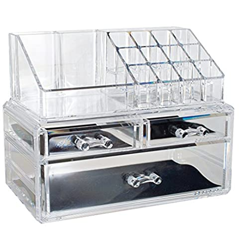 Essential Acrylic Makeup Organiser by OPUL, Clear Makeup Storage, Vanity Organiser, Display Stand with Drawers, Removable Dividers - Storage with Stylish Design for Cosmetics, Jewellery, Nail Polish