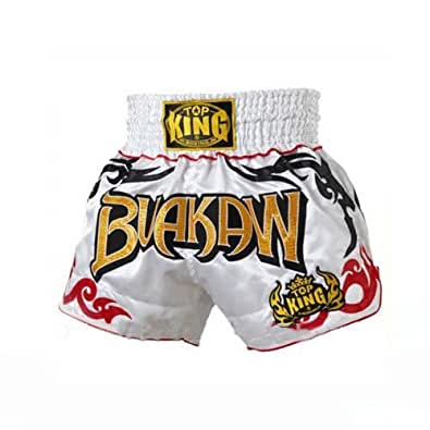Top King Boxing Muay Thai Shorts White Buakaw : TK-TBS-83 , Taille : XL