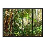 Les Trésors De Lily [Q8013 - Sticker Trompe l'oeil verrière 'Tropical' Vert Gris - 50x70 cm