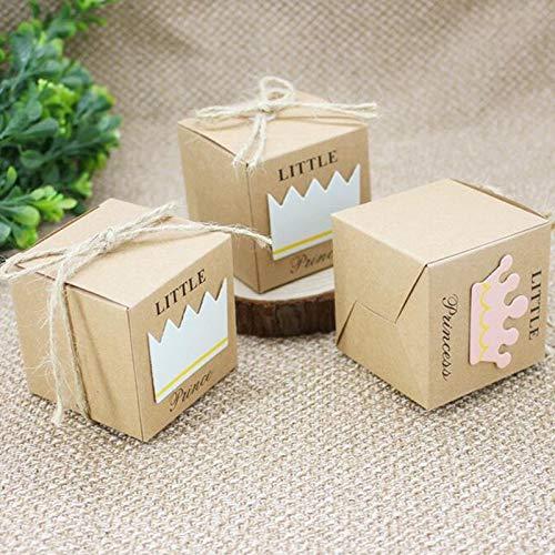 Baby-dusche Pralinenschachtel Kleine Prinz Kleine Prinzessin Crown Kraft Kästen blau Pink Candy Box für Mädchen Jungen Geburtstag Begünstigt Box 50 stück