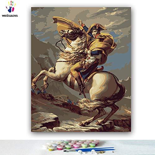 Malen nach Zahlen Kits 40,6 x 50,8 cm Leinwand-Ölgemälde für Kinder, Studenten, Erwachsene, Anfänger mit Pinsel und Acryl-Pigment Bonaparte Franchissant le Grand-Saint-Bernard (ohne Rahmen) -