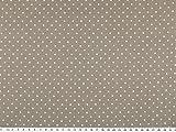 Baumwolldruck mit kleinenTupfen, 2mm, grau-beige, 140cm