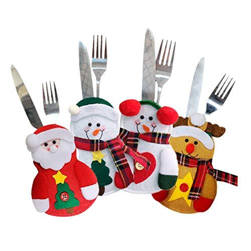 LAEMILIA 6pcs Kitchen Cutlery Suit Christmas Party Decoration Knifes Forks Bag Snowman Santa Claus Elk (4PCS, Color)