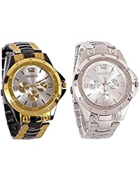 Xforia Boys Watch Latest Silver & Golden Metal Analog Watches For Men Pack Of 2 Offer