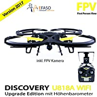 UDI U818A Drohne 2 MP WiFi FPV Kamera 2,4 GHz Quadrocopter Version 2017 mit Höhehaltemodus Altitude Hold, Rückholmodus Headless Mode, Akkustandswarnung, Flugroutenplanung und One-Key-To-Start Funktion