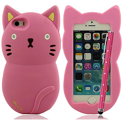 Mio Mio süß Katze Hülle für iPhone 5 5S 5C 5G Silikon Hülle gel case Kollision Absorption Anti-Scratches + Bling Stylus Pen Rot