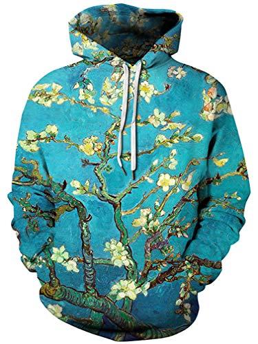 Ocean Plus Herren Kapuzenpullover Lebensecht 3D Grafik Hoodie mit Kängurutasche Pullover mit Kapuze Sweat Hood (L/XL (Brustumfang: 114-134CM), Pflaumenblüte)