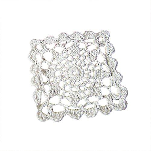 aspire 10,2 cm 10 pièces/Lot Beige et Blanc carré Fait à la Main Tasse Crochet Dentelle Coton napperons de Table, Coton, Blanc, Taille Unique