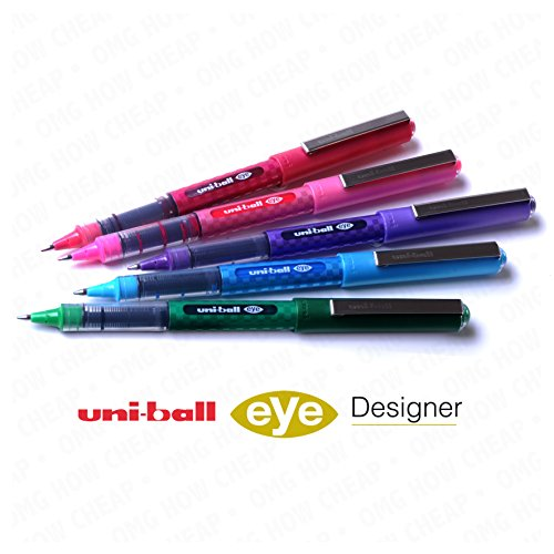 uni-ball-ub-157d-designer-eye-rollerball-pen-set-pack-of-5-swatch-colours-green-light-blue-pink-red-