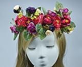 Facile à porter Broderie de couronne de camélia artificielle Bohème ou bandeau de demoiselle d'honneur_Purple