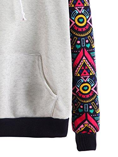 ROMWE Damen Kontrast Raglan Ärmel Pullover mit Kapuze Herbst Winter Kapuzensweatshirt Hoodie Dunkel Rosa