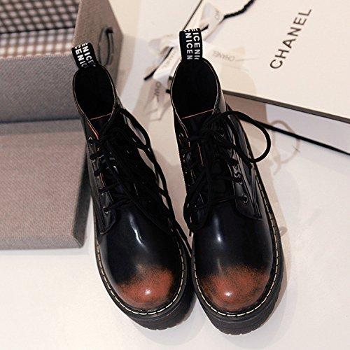 &ZHOU Bottes d'automne et d'hiver courtes bottes femmes adultes Martin bottes Chevalier bottes A25 Dark Brown