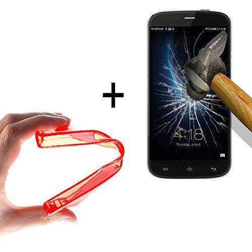 WoowCase | Flexible Gel Schutzhülle für [ Doogee Nova Y100X ] [ +1 Schutzglas ] Hartglas, Doogee Nova Y100X Hülle Case TPU Silikon in Rot