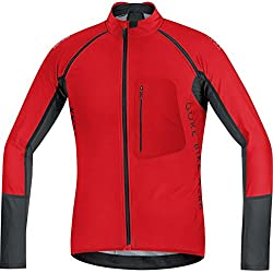 GORE BIKE WEAR Maillot for Men, Thermal, 2 in 1, Versatile, GORE WINDSTOPPER Soft Shell, Alp-X PRO WS SO Zip-OFF, Size L, Red / Black, SWPALP359905